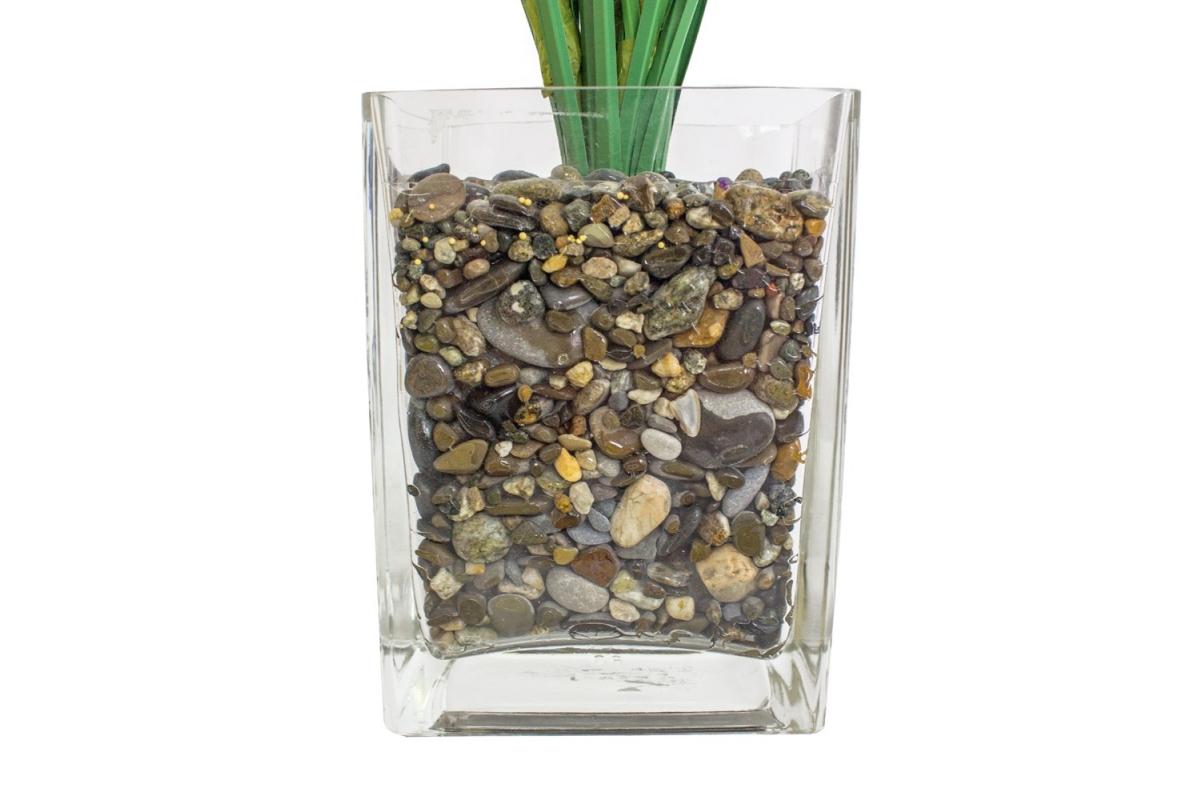 Трава с соцветиями искусственная зелено-желтая в стеклянной вазе 62 см - Фото 3