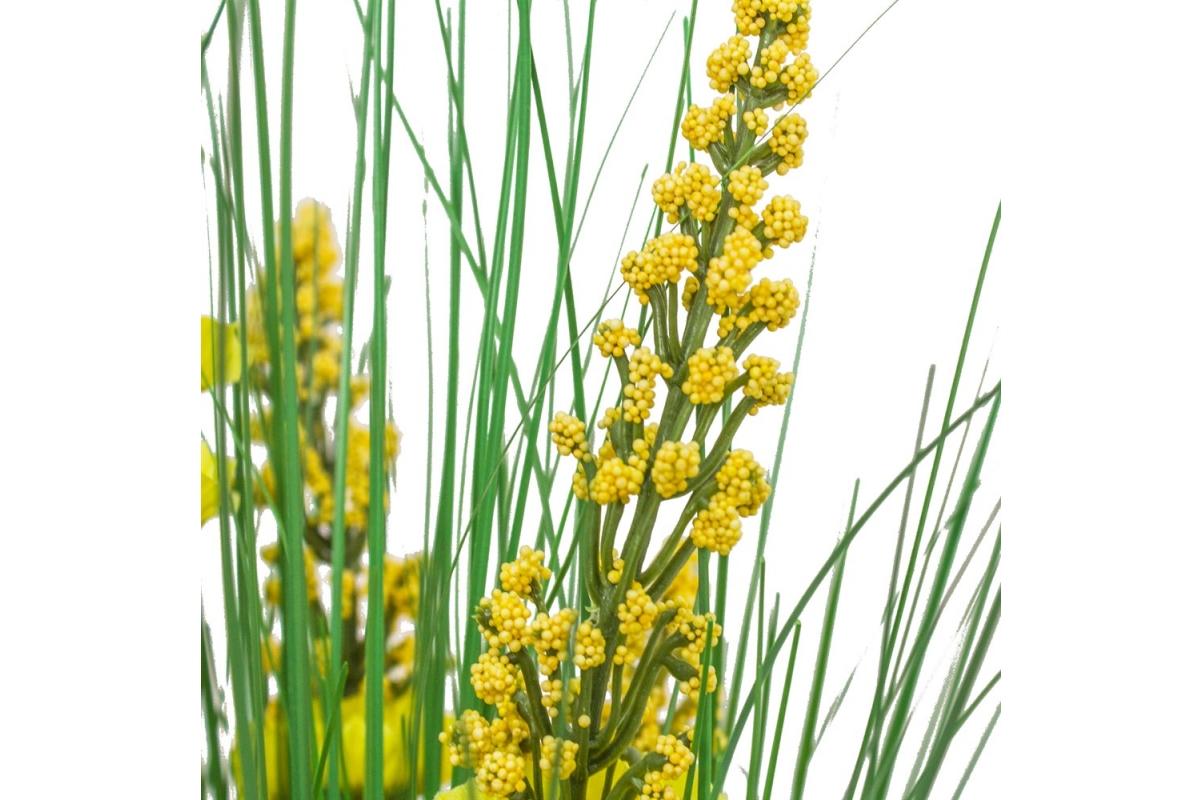 Трава с соцветиями искусственная зелено-желтая в стеклянной вазе 62 см - Фото 5