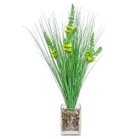 Трава с соцветиями искусственная зеленая в стеклянной вазе 62 см