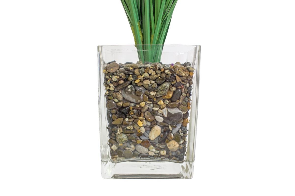 Трава с соцветиями искусственная зеленая в стеклянной вазе 62 см - Фото 3
