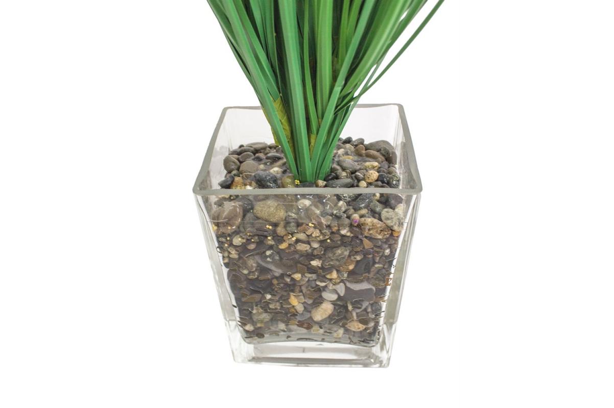 Трава с соцветиями искусственная зеленая в стеклянной вазе 62 см - Фото 4