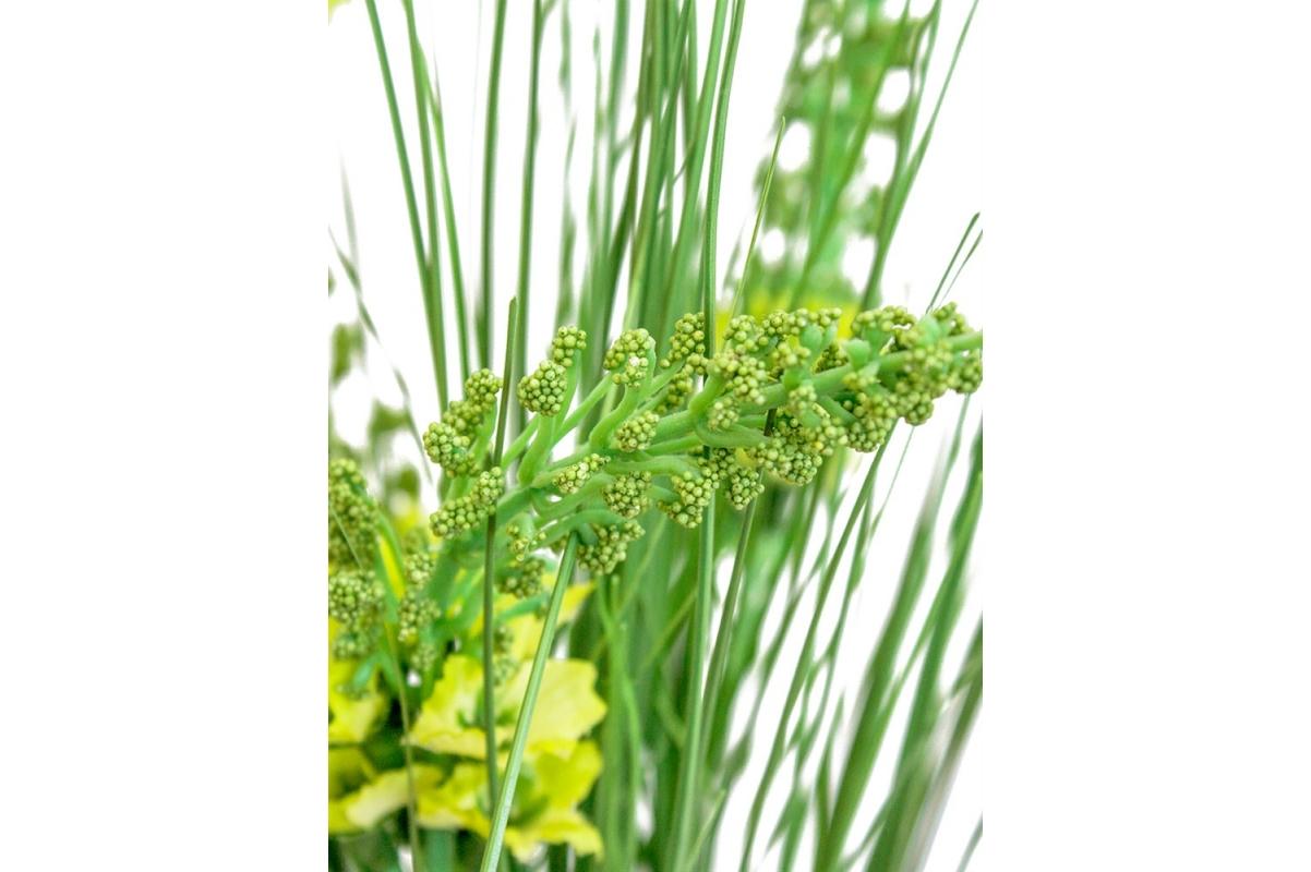 Трава с соцветиями искусственная зеленая в стеклянной вазе 62 см - Фото 5