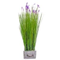 Трава Ракитник искусственный зелено-фиолетовый в кашпо ящик 61 см