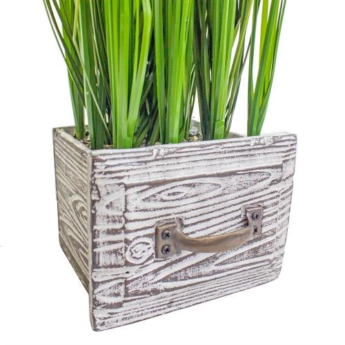 Трава Ракитник искусственный зелено-фиолетовый в кашпо ящик 61 см - Фото 3