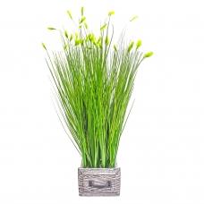 Трава Ракитник искусственный зеленый в кашпо ящик 61 см
