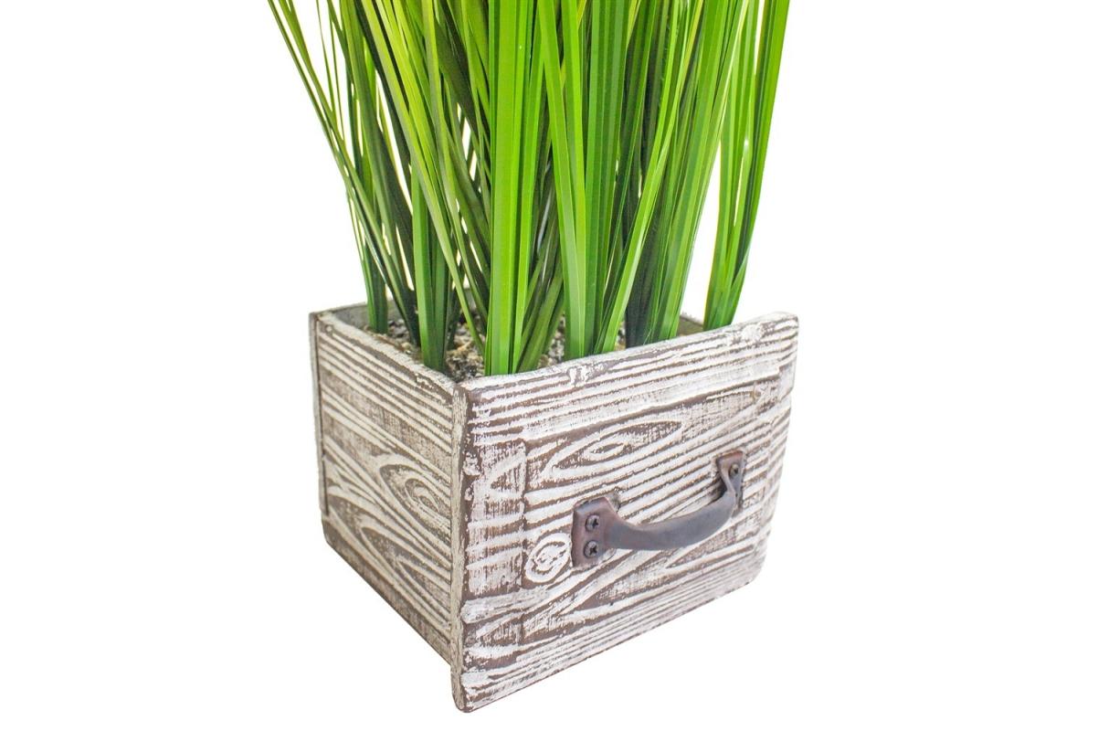 Трава Ракитник искусственный зеленый в кашпо ящик 61 см - Фото 3