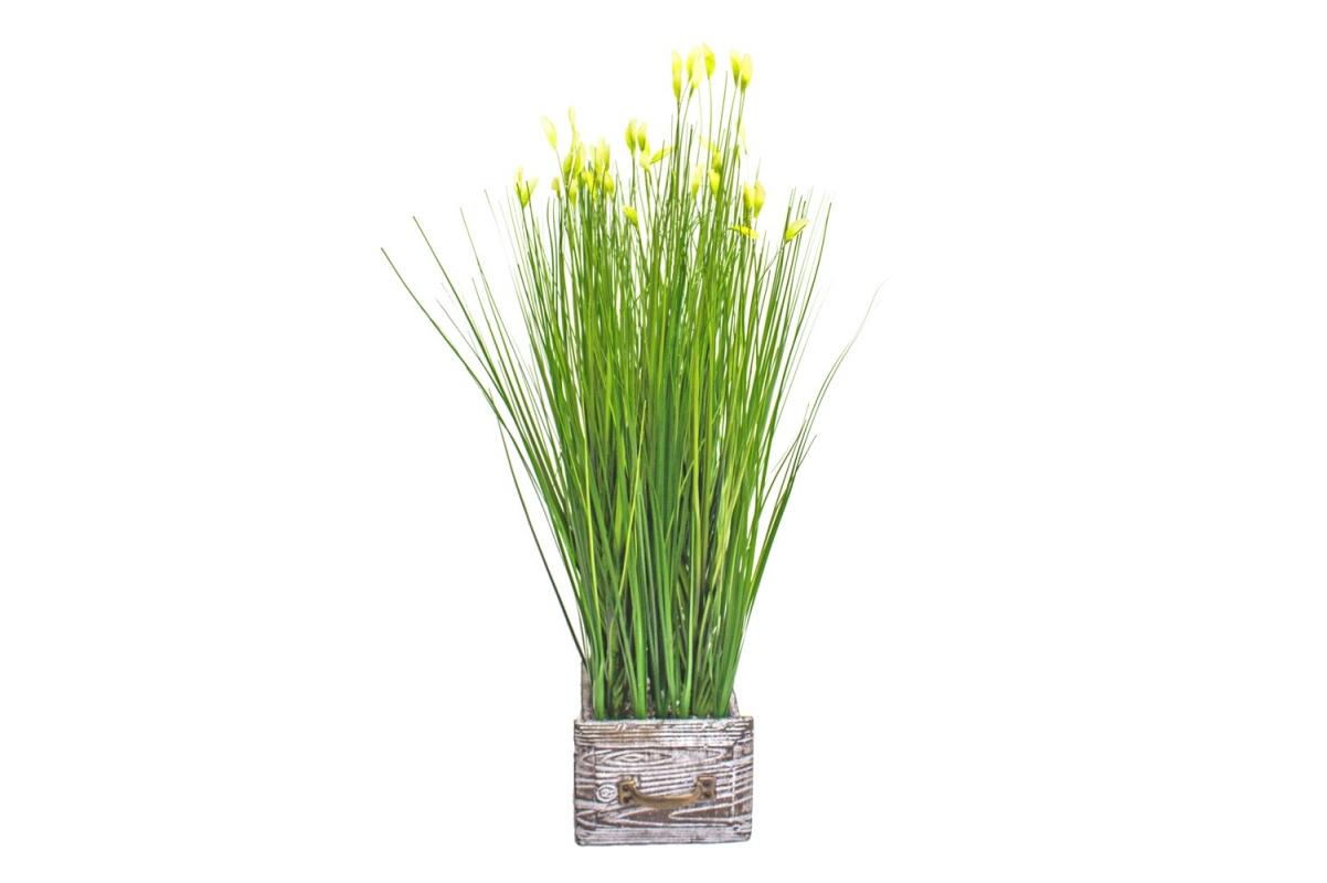 Трава Ракитник искусственный зеленая в кашпо ящик 61 см