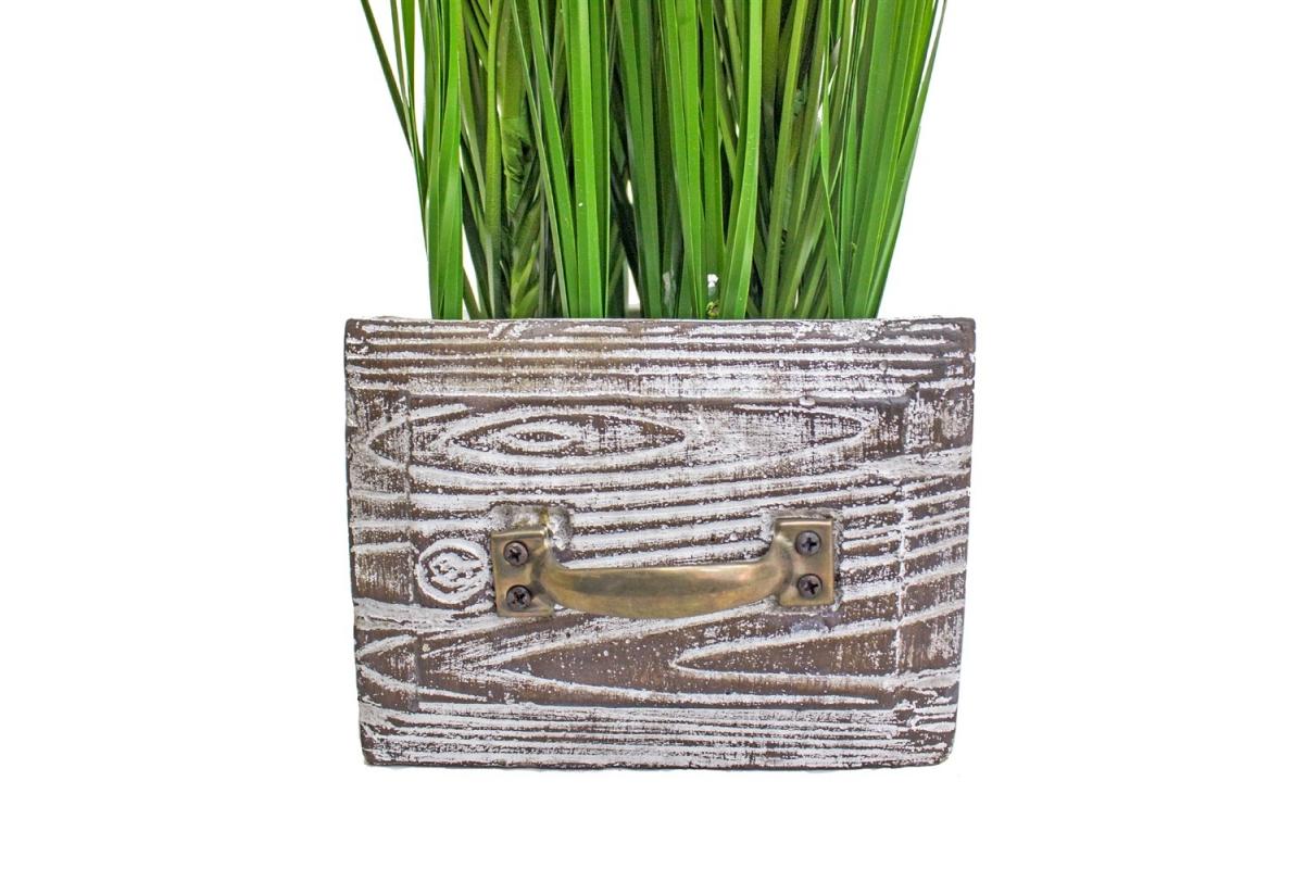 Трава Ракитник искусственный зеленая в кашпо ящик 61 см - Фото 3