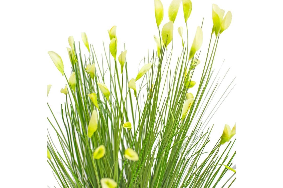 Трава Ракитник искусственный зеленая в кашпо ящик 61 см - Фото 4