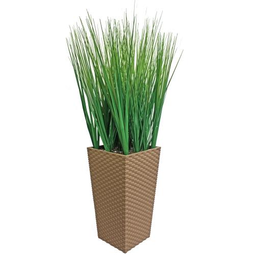 Трава искусственная зеленая низкая в малом высоком кашпо 85 см