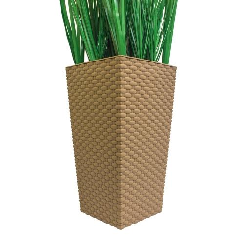 Трава искусственная зеленая низкая в малом высоком кашпо 85 см - Фото 3