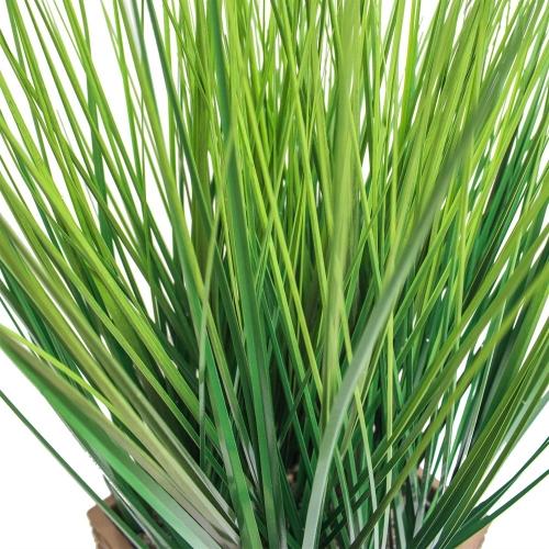 Трава искусственная зеленая низкая в малом высоком кашпо 85 см - Фото 4