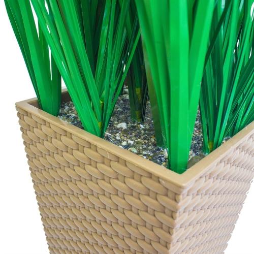 Трава искусственная зеленая низкая в малом высоком кашпо 85 см - Фото 5
