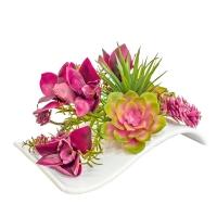Композиция из Орхидеи Цимбидиум и Суккулентов искусственная микс в кашпо-волна 17 см