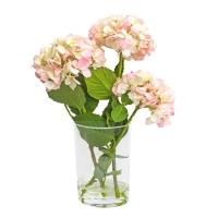 Композиция Гортензии искусственные светло-розовые в вазе с водой 56 см