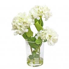 Композиция Гортензии искусственные белые в вазе с водой 56 см