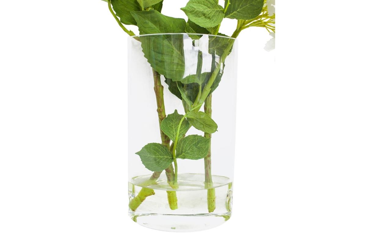 Композиция Гортензии искусственные белые в вазе с водой 56 см - Фото 3