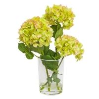 Композиция Гортензии искусственные зеленые в вазе с водой 56 см