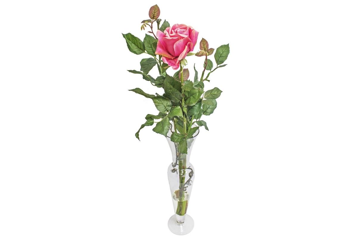 Композиция 1 Роза искусственная в стеклянной вазе леди с водой 74 см
