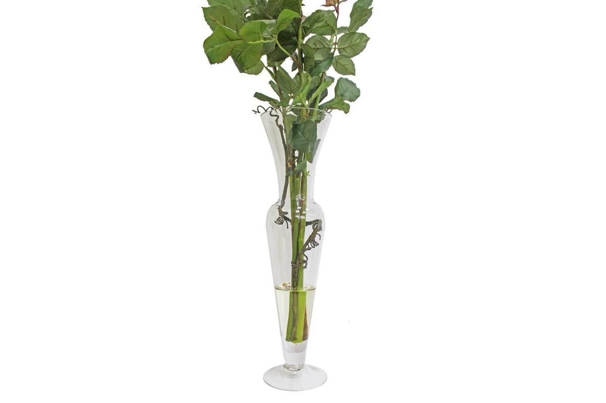 Композиция 1 Роза искусственная в стеклянной вазе леди с водой 74 см - Фото 3