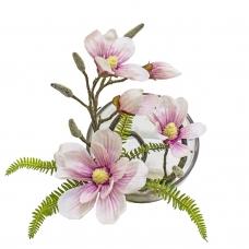 Магнолии искусственная светло-розовая в стеклянной вазе со скосом 32 см