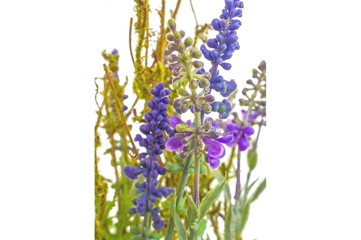 Лаванда и папоротник искусственная фиолетовая в керамическом кашпо 30 см - Фото 4