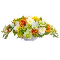 Композиция из Орхидей, Розы и Гортензии искусственная микс в вазе ладья 38 см