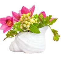Орхидея Цимбидиум искусственная розовая в вазе ракушка 22 см