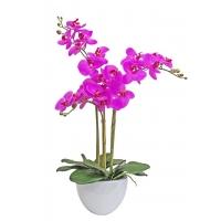 Орхидея Фаленопсис  3 ветки искусственная сиреневая в кашпо 75 см