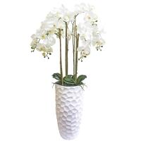 Орхидея Фаленопсис 7 веток искусственная белая в среднем белом кашпо конус 150 см