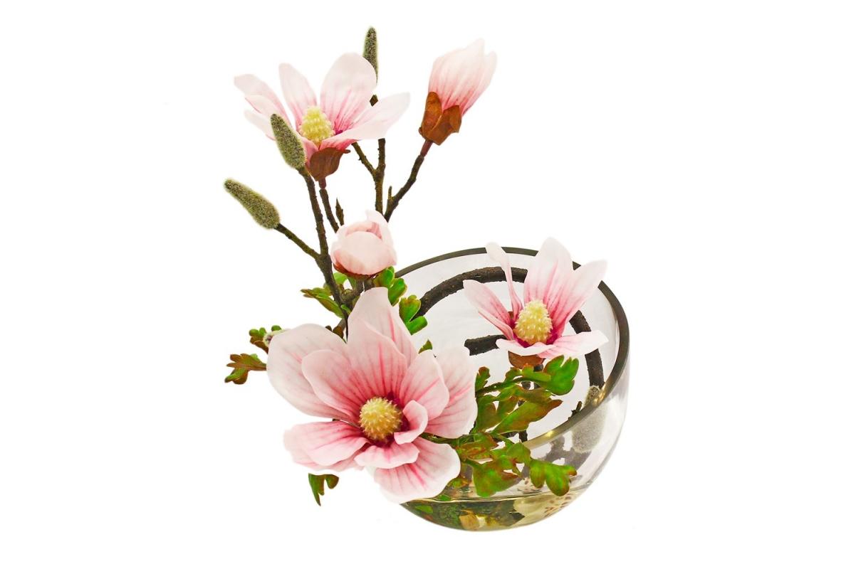 Магнолии искусственная светло-розовая в стеклянной вазе со скосом 34 см