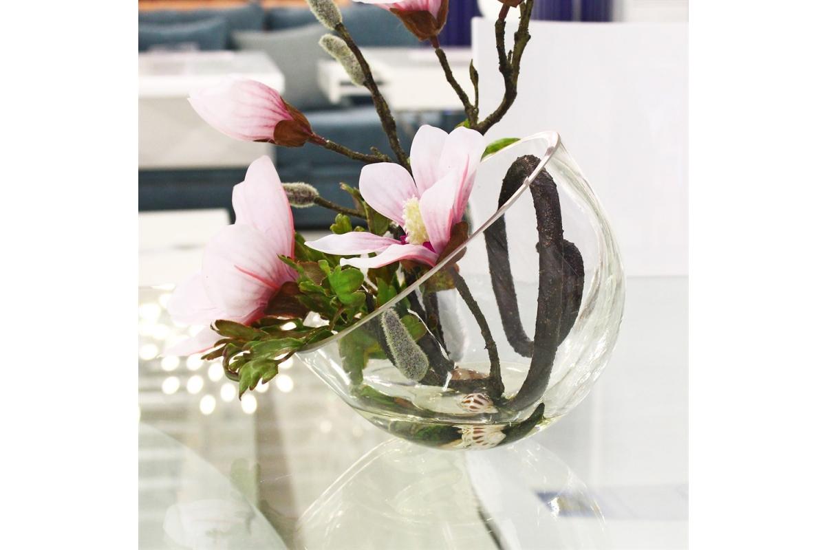 Магнолии искусственная светло-розовая в стеклянной вазе со скосом 34 см - Фото 2