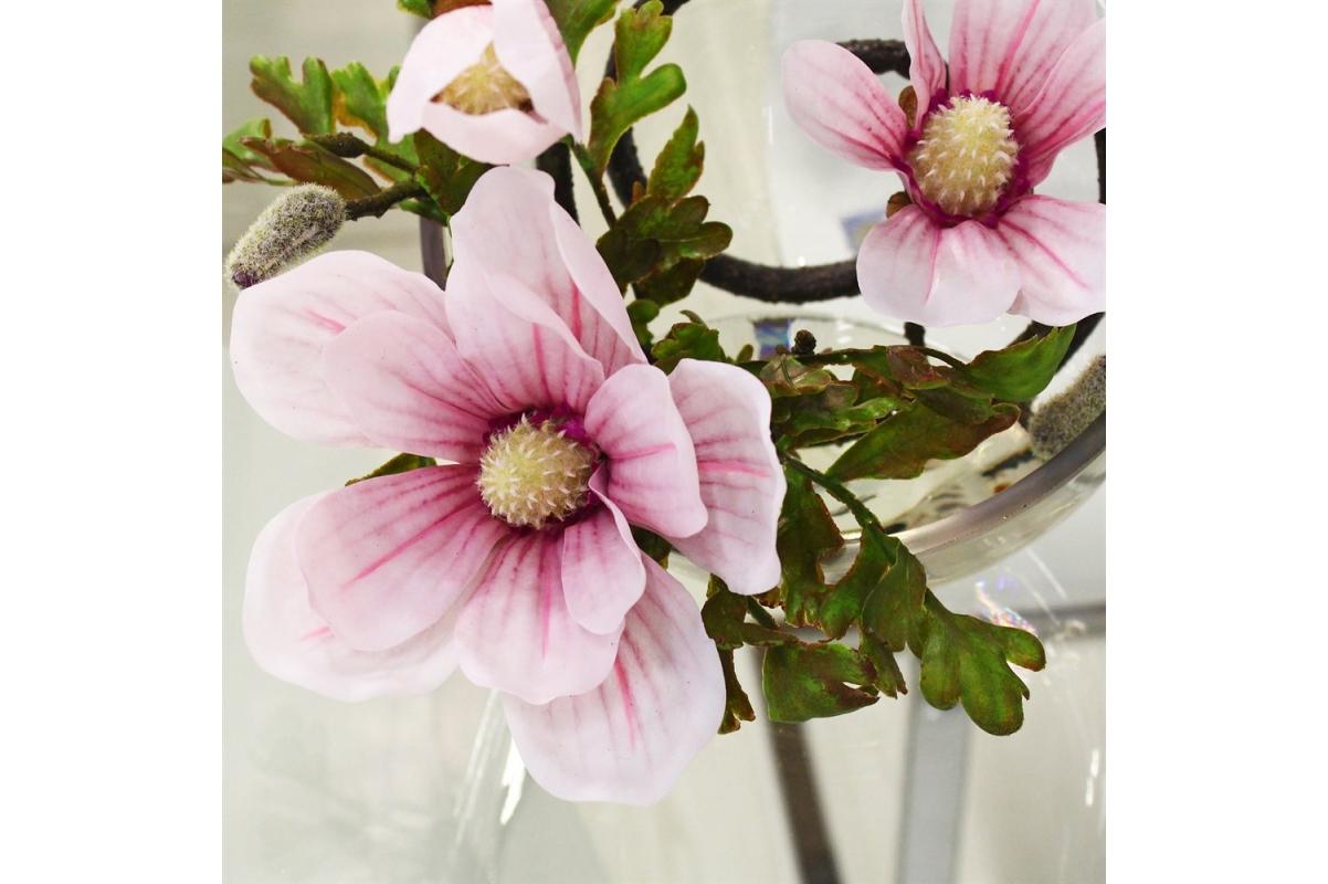 Магнолии искусственная светло-розовая в стеклянной вазе со скосом 34 см - Фото 3