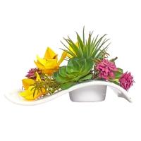 Орхидея Цимбидиум и Суккуленты искусственные микс в кашпо волна 17 см