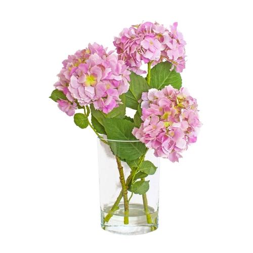 Композиция Гортензии искусственные светло-сиреневые в вазе с водой 56 см