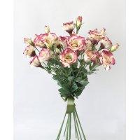 Букет из 13 бело-розовый Лизиантусов искусственный 80 см