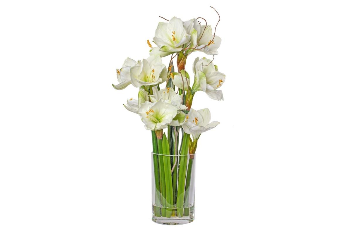 Композиция Амариллисы искусственные белые в вазе с водой 76 см