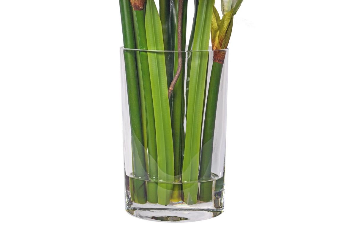Композиция Амариллисы искусственные белые в вазе с водой 76 см - Фото 3