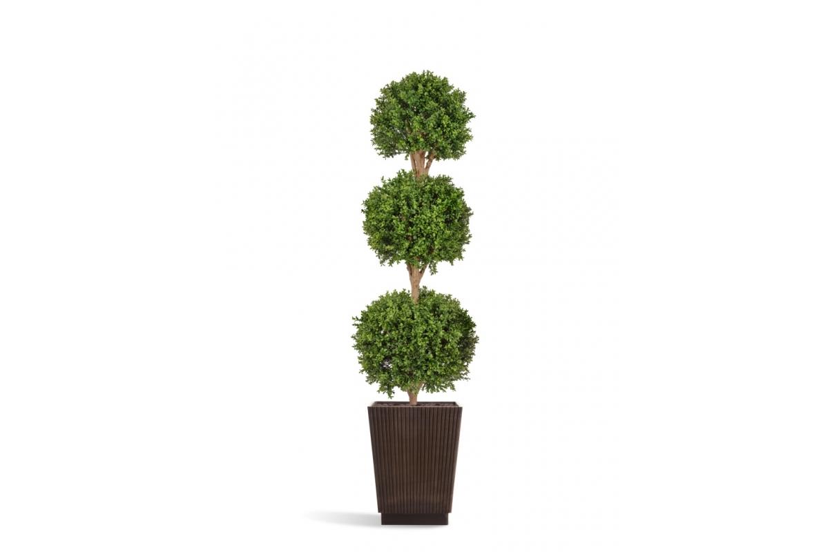Самшит Шар искусственный Тройной уличный в коричневом кашпо 220 см