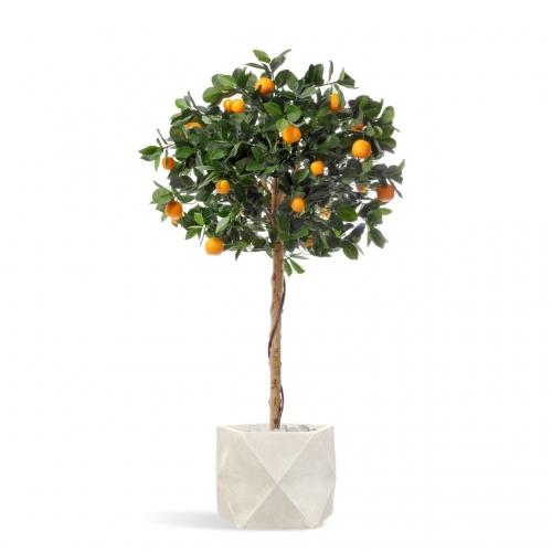 Мандарин Голден Оранж искусственный штамбовый в бежевом кашпо 135 см