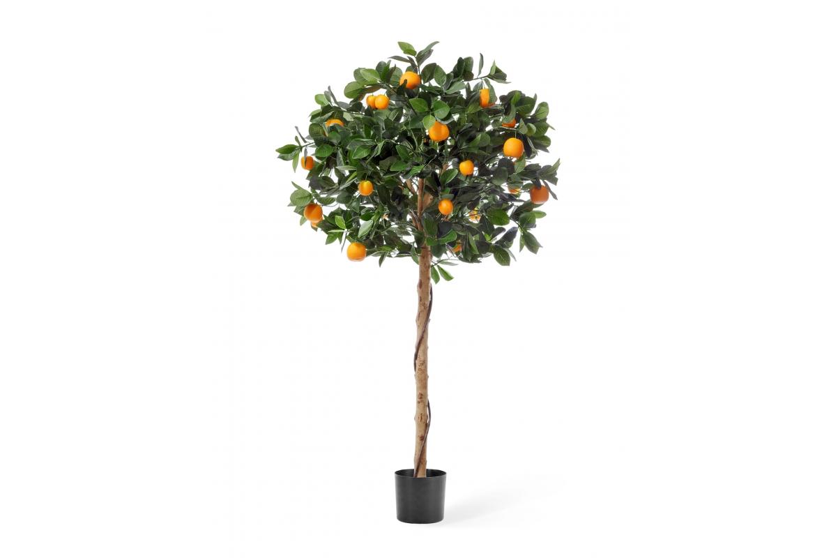 Мандарин Голден Оранж искусственный штамбовый в бежевом кашпо 135 см - Фото 4