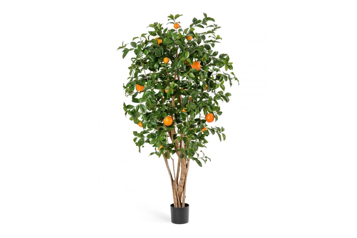 Апельсиновое дерево искусственное с плодами в бежевом кашпо 180 см - Фото 2