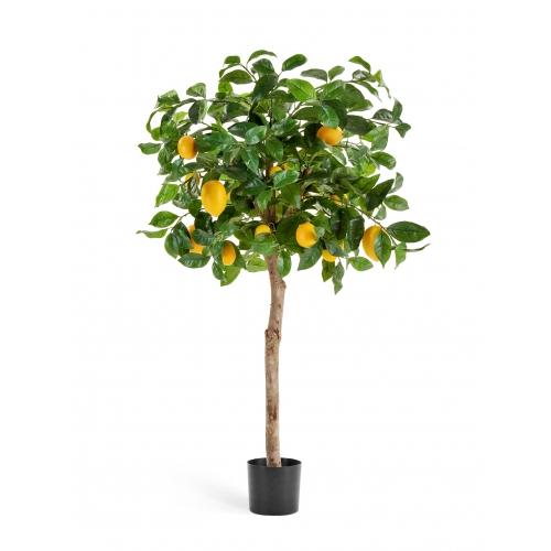 Лимонное дерево искусственное с плодами в бежевом кашпо 125 см - Фото 2