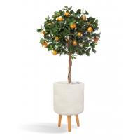 Мандарин Голден Оранж искусственный штамбовый в бежевом кашпо 15 см