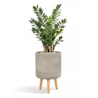 Замиокулькас кустовой искусственный в серо-коричневом кашпо 130 см