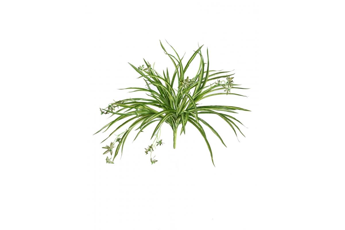 Хлорофитум куст с ростками искусственный в серо-коричневом кашпо 65 см - Фото 3