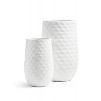 Кашпо Treez Ergo Diamond высокая округлая чаша белая от 55 до 75 см