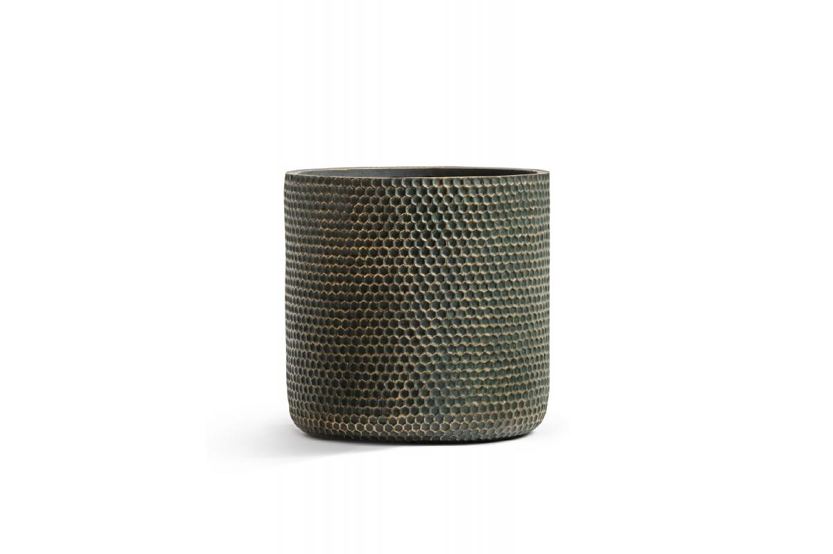 Кашпо TREEZ ERGO Oriental цилиндр окись с золотой патиной от 23 до 37 см - Фото 2