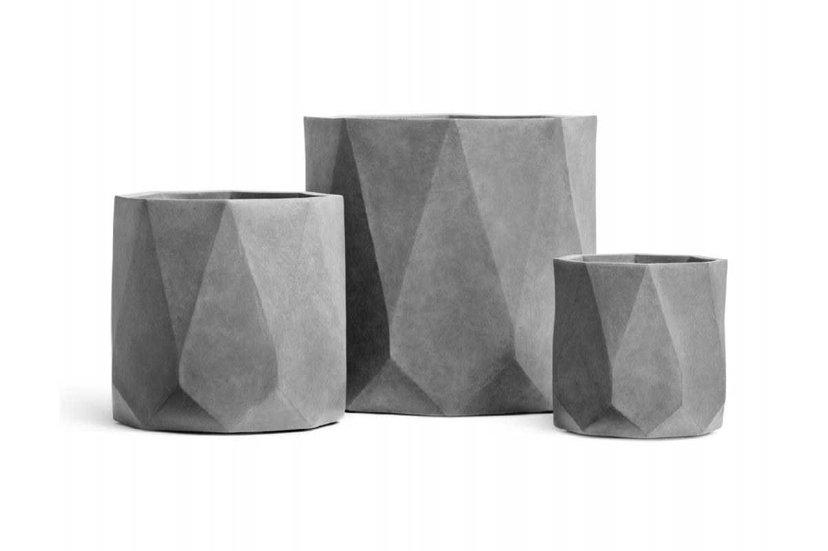 Кашпо TREEZ ERGO Rombo цилиндр многогранник светло-серый камень от 30 до 52 см