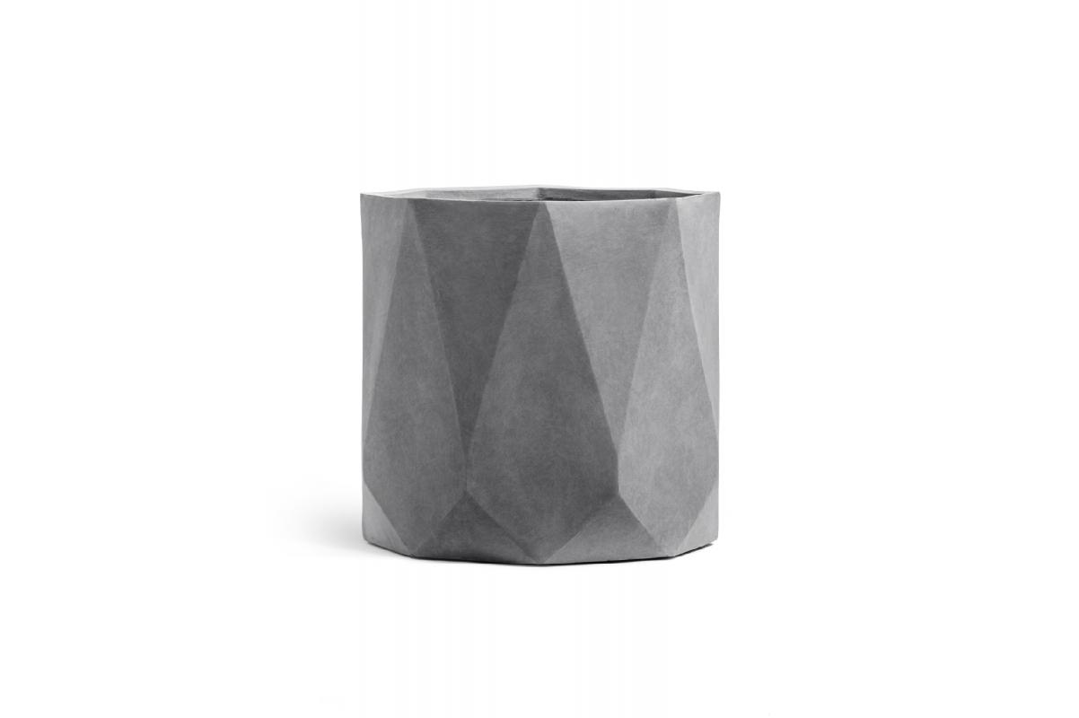 Кашпо TREEZ ERGO Rombo цилиндр многогранник светло-серый камень от 30 до 52 см - Фото 2